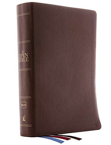 9780785222408: NKJV, Open Bible, Genuine Leather, Brown, Red Letter Edition, Comfort Print: Complete Reference System