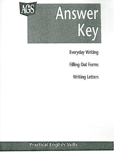 9780785409687: PRACTICAL ENGLISH SKILLS WORKTEXT SERIES ANSWER KEY (Ags Building Basic English Skills)