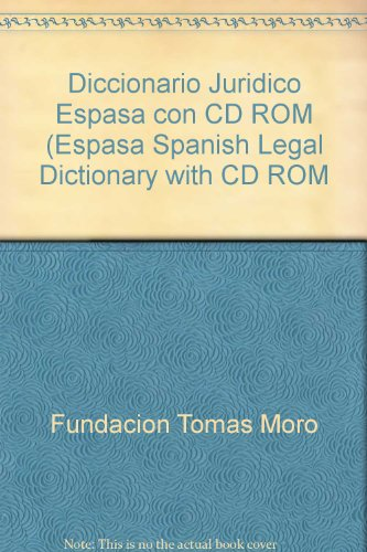 9780785997863: Diccionario Juridico Espasa con CD ROM (Espasa Spanish Legal Dictionary with CD ROM