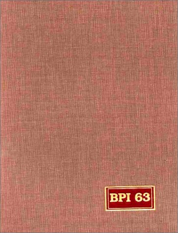 9780787633172: Bookman's Price Index: A Guide to the Values of Rare and Other Out of Print Books (Bookman's Price Index) Volume 63