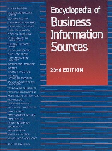Encyclopedia of Business Information Sources (Hardback): Linda D Hall