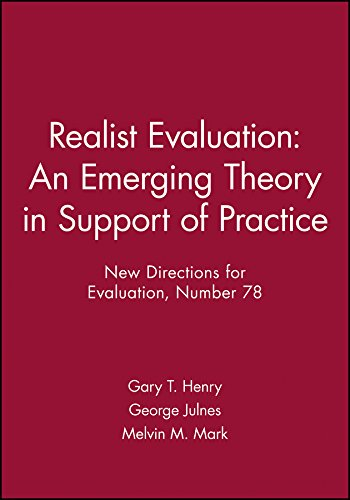 9780787915513: Realist Evaluation: An Emerging Theory in Support of Practice: New Directions for Evaluation, Number 78 (J-B PE Single Issue (Program) Evaluation)