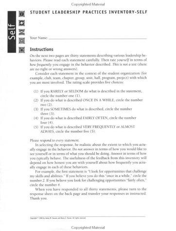 9780787944261: Student Leadership Practices Inventory, Self Instrument (4 Page Insert, NCR Paper) (J-B Leadership Challenge: Kouzes/Posner)