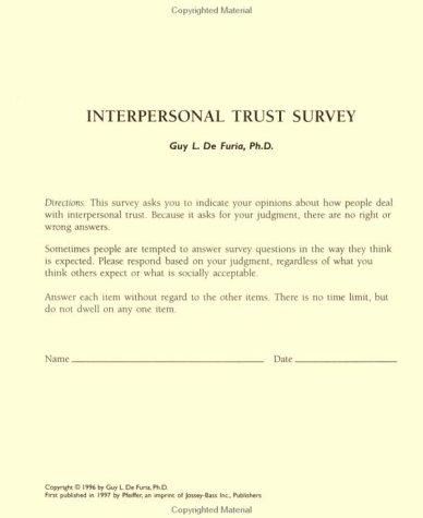 9780787945084: Interpersonal Trust Surveys, Self, Revised Second Printing
