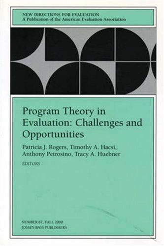 9780787954321: Program Theory in Evaluation Challenges and Opportunities: New Directions for Evaluation, Number 87