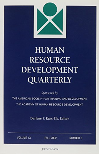 9780787963521: Human Resource Development Quarterly, Number 3, 2002 (J-B HRDQ Single Issue Human Resource Development Qarterly) (Volume 13)