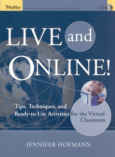 Live And Online! 9780787969783 Live and Online! offers the key to designing effective interactions for the synchronous classroom. This ensures that participants have ample opportunity to collaborate and interact, which in turn helps them to successfully learn online. Author Jennifer Hofmann explains the use of powerful synchronous tools—Whiteboard, Chat, Breakout Room, Application Sharing, and Synchronized Web Browsing—provides sample exercises for each tool, and offers advice on how each tool fits into the instructional landscape. At the end of each exercise there is space provided for notes and suggestions on how to customize the interaction for specific projects. The companion CD-ROM contains sample graphics, leader guide pages that support the exercises, and templates for creating leader and participant materials and interactive plans.