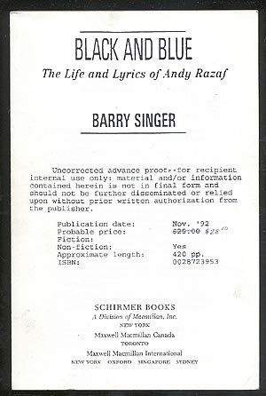 9780788163463: Black and Blue: The Life and Lyrics of Andy Razaf