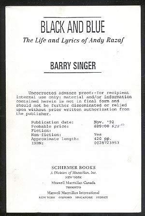 9780788163463: Black and Blue: The Life and Lyrics of Andy Razaf