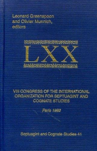 9780788502088: VIII Congress of the International Organization for Septuagint and Cognate Studies: Paris 1992