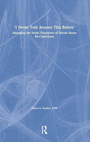 9780789004628: I Never Told Anyone This Before: Managing the Initial Disclosure of Sexual Abuse Re-Collections