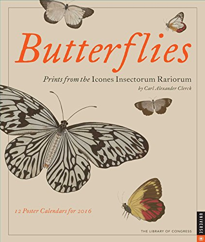 Butterflies 2016 Boxed Posters Calendar: Prints from: Library of Congress