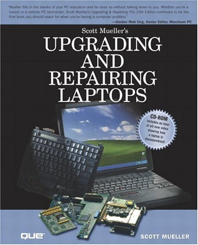 Upgrading and Repairing Laptops 9780789728005 Beyond cutting edge, Scott Mueller goes where no computer book author has gone before--right past all the warranty stickers, the hidden screws, and the fear factor to produce a real owner's manual that every laptop owner should have on his desk. This book shows the upgrades users can perform, the ones that are better left to the manufacturer, and how to use add-on peripherals to make the most of a laptop. The CD contains one-of-a-kind video showing just what's inside a portable PC. For readers who have ever wondered what goes on inside their portable PC, how to upgrade/repair the portable PC or how to live on the road with it, this is the one must-have book of the year!