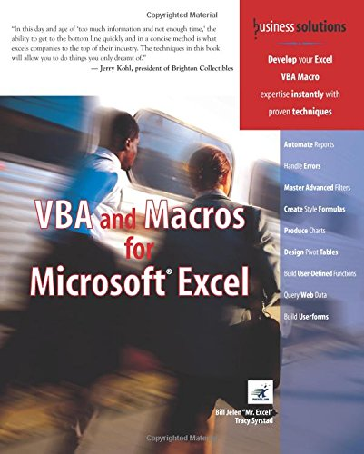 VBA and Macros for Microsoft Excel (0789731290) by Jelen, Bill; Syrstad, Tracy