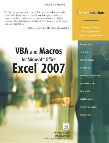 9780789736826: VBA and Macros for Microsoft Office Excel 2007 (Business Solutions)