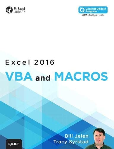 9780789755858: Excel 2016 VBA and Macros (includes Content Update Program) (Mrexcel Library)