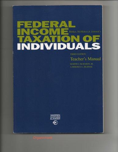 9780791348468: Bittker, McMahon & Zelenak's Federal Income Taxation of Individuals Teacher's Manual