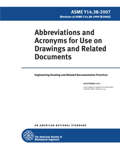 9780791831229: Abbreviations and Acronyms for Use on Drawings and Related Documents 2007: Engineering Drawing and Related Documentation Practice, Amse Y14.38