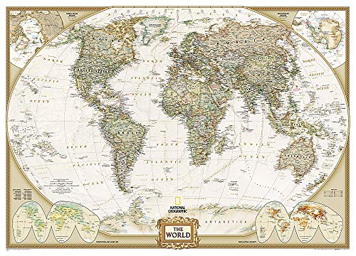 9780792230342: Mapa mural del mundo executive gigante (3 partes) 295x193 cm. Inglés. National Geographic.: 3 Parts (Reference - World)