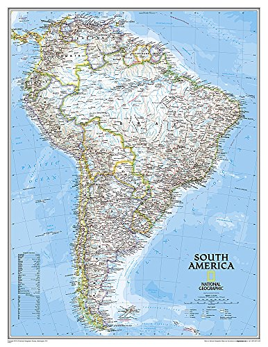 9780792250203: National Geographic: South America Classic Enlarged Wall Map - Laminated (35.75 x 46.25 inches) (National Geographic Reference Map)