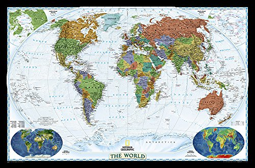 9780792283119: World Decorator, Enlarged & Laminated: Wall Maps World: PP.NGW622078: Laminated, Decorator Line (World Maps)