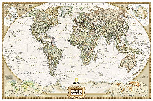 9780792283232: **World Political Executive Antique186 Cm X 125 Cm: Enlarged Executive Line (World Maps)