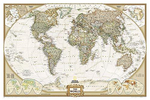9780792283256: World Executive, laminated : Wall Maps World: PP.NGW622085: Laminated Executive Line (World Maps)