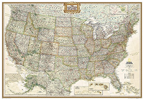 9780792293217: National Geographic: United States Executive Enlarged Wall Map (69.25 x 48 inches) (National Geographic Reference Map)