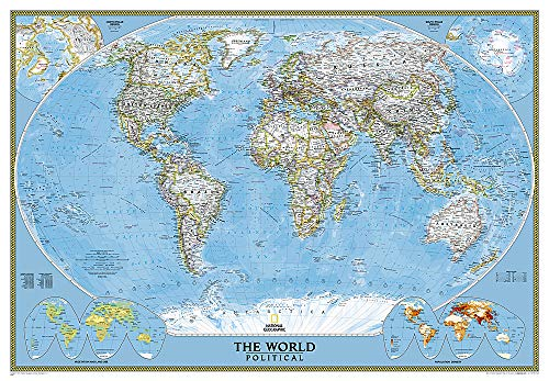 9780792294580: Mapa mural del mundo classic gigante (3 partes) 289x193 cm. Inglés. National Geographic.: Political: 3 Parts (National Geographic Reference Map)