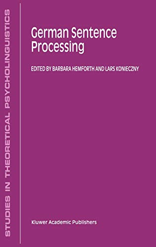 9780792361046: German Sentence Processing (Studies in Theoretical Psycholinguistics)