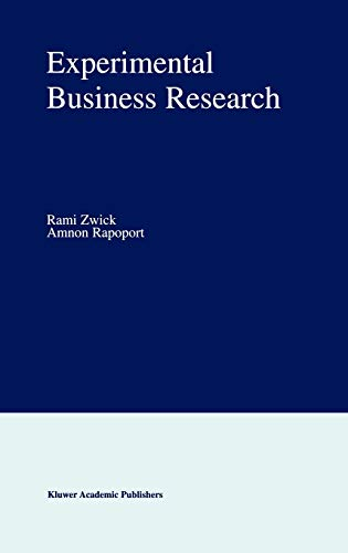 9780792374831: Experimental Business Research