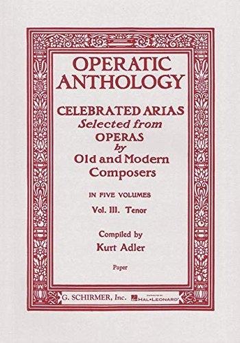 9780793526123: Operatic Anthology - Volume 3: Tenor and Piano
