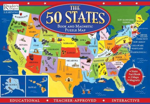 9780794412883: The 50 States Book and Magnetic Puzzle Map