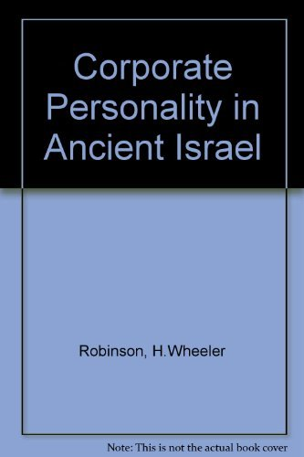 9780800613808: Corporate Personality in Ancient Israel