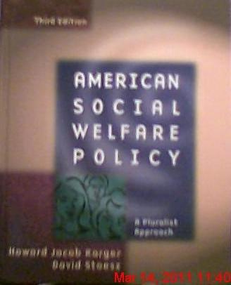 9780801317026: American Social Welfare Policy: A Pluralist Approach