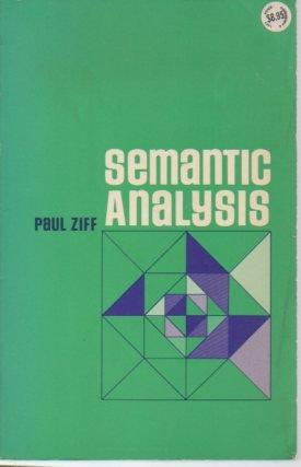 9780801490514: Semantic Analysis