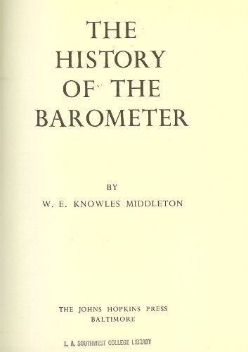 9780801804618: The History of the Barometer