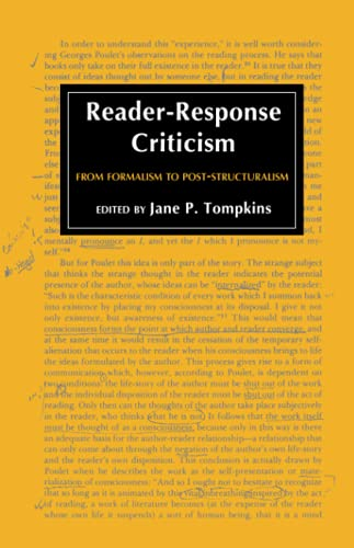 9780801824012: Reader-Response Criticism: From Formalism to Post-Structuralism