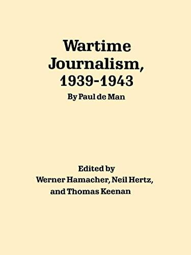 9780803265769: Wartime Journalism, 1939-1943