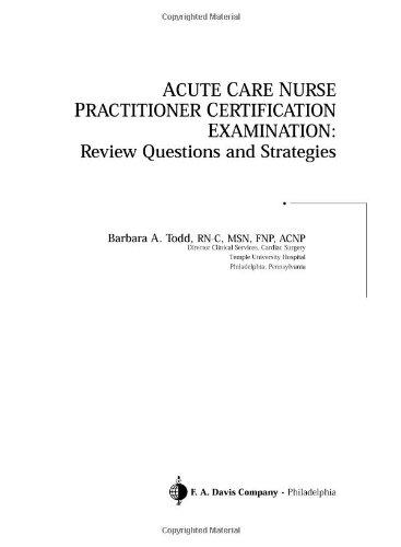 9780803609570: Acute Care Nurse Practitioner Certification ...