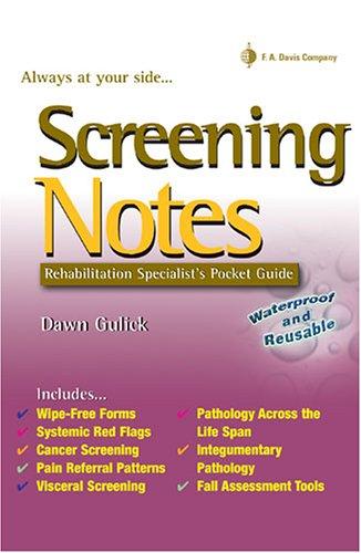 9780803615731: Screening Notes: Rehabilitation Specialist's Pocket Guide (Davis Notes)