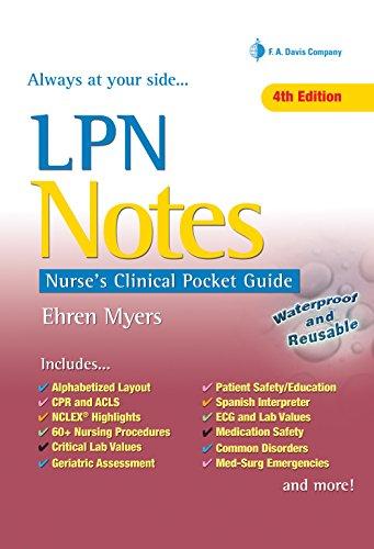 LPN Notes Nurse's Clinical Pocket Guide: Myers, Ehren