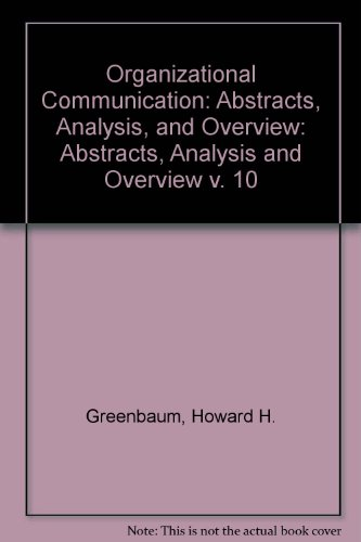 9780803916067: Organizational Communication: Abstracts, Analysis, and Overview, Vol. 6