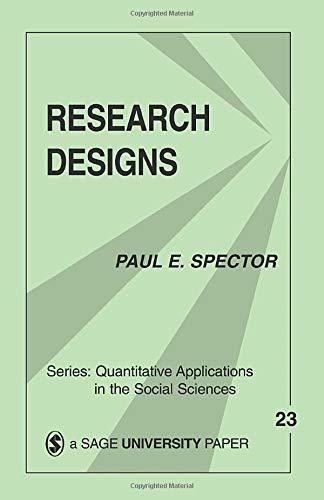 9780803917095: Research Designs (Quantitative Applications in the Social Sciences)