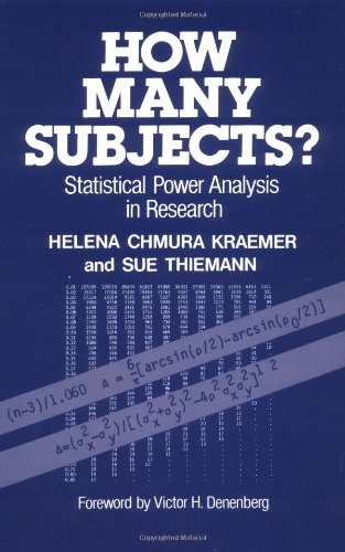 How Many Subjects?: Statistical Power Analysis in: Kraemer, Helena Chmura;
