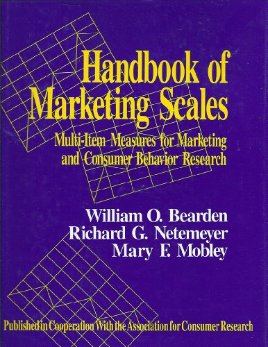 9780803951556: Handbook of Marketing Scales: Multi-Item Measures for Marketing and Consumer Behavior Research (Association for Consumer Research)