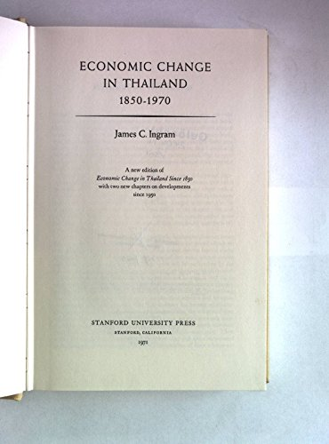 9780804707824: Economic Change in Thailand 1850 to 1970