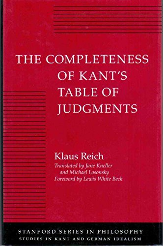 9780804719346: The Completeness of Kant's Table of Judgments (Studies in Kant and German Idealism)