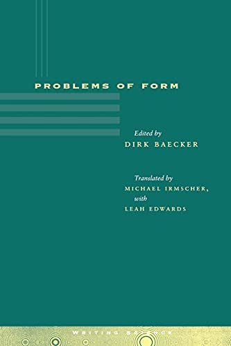 9780804734240: Problems of Form (Writing Science)
