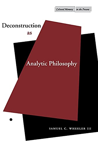 9780804737531: Deconstruction as Analytic Philosophy (Cultural Memory in the Present)